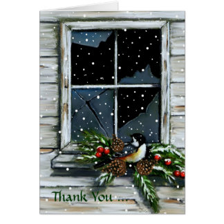 Gracias por regalo del navidad: Pájaro, ventana Tarjeta Pequeña