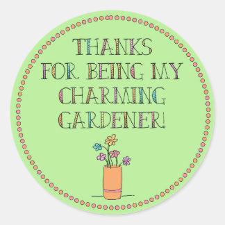 ¡Gracias por ser mi jardinero encantador! Pegatina Redonda