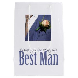 Gracias por ser mi mejor hombre bolsa de regalo mediana