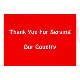 Gracias por servir nuestro país tarjetas