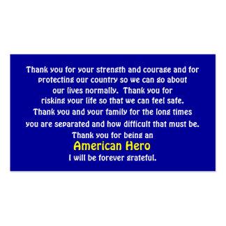 Gracias por servir nuestro país tarjetas de visita