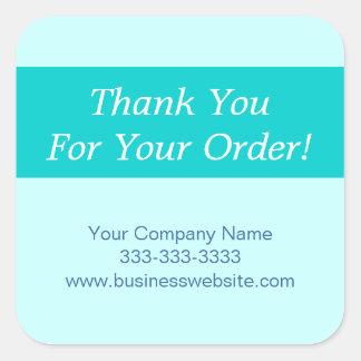 Gracias por su azul del aprecio de Order Company Pegatina Cuadrada