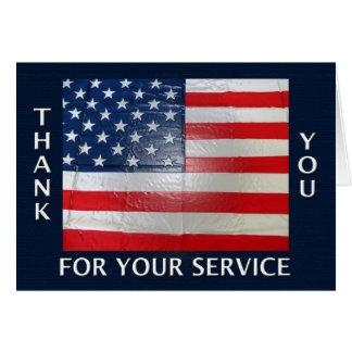 Gracias por su bandera americana del servicio tarjeton