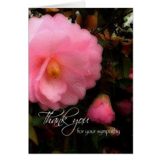 Gracias por su condolencia, camelia rosada Paintin Felicitación