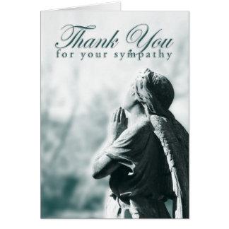 gracias por su condolencia (el ángel de rogación) tarjeta pequeña