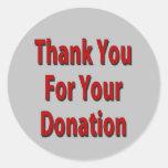 Gracias por su donación pegatina redonda