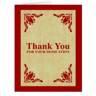 gracias por su esmero tarjeta de felicitación grande