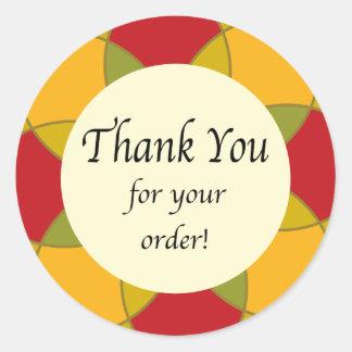 Gracias por su floral geométrico de la orden pegatina redonda