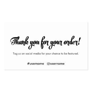 Gracias por su lealtad del cliente de la orden tarjetas de visita