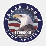 Gracias por su libertad del servicio desde 1776 pegatina redonda