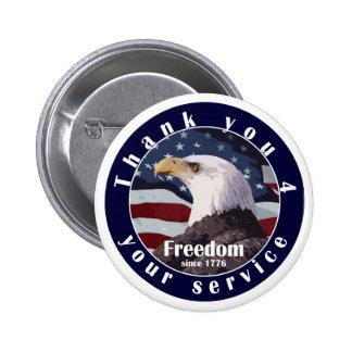 Gracias por su libertad del servicio desde 1776 pin