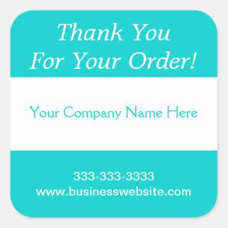 Gracias por su raya de la turquesa del negocio de calcomanía cuadradas personalizadas