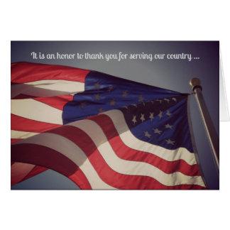 Gracias por su tarjeta de felicitación militar del