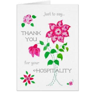 Gracias por su tarjeta de la hospitalidad