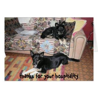 Gracias por su tarjeta de la hospitalidad (los per