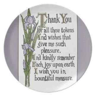 Gracias por sus buenos deseos plato de comida