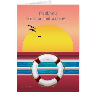 Gracias por sus servicios - barco de cruceros tarjeta de felicitación