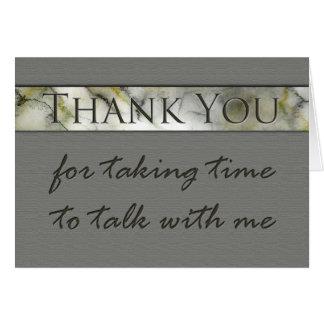 Gracias por tardar tiempo para hablar entrevista tarjeta de felicitación