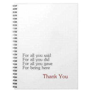 Gracias por todos libreta
