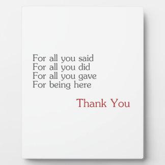 Gracias por todos placa