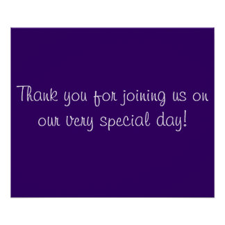Gracias por venir en púrpura y blanco póster