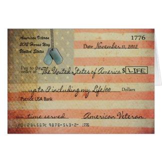 Gracias por veterano el día de veteranos tarjeta