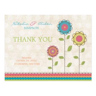 Gracias postal alta colorida de las flores del arc