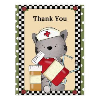 Gracias postal de la enfermera del gato