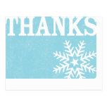 Gracias postal del navidad del copo de nieve del v