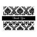 Gracias postal floral del damasco blanco y negro
