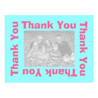 Gracias postal - rosa y aguamarina