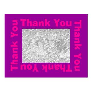 Gracias postal - rosa y púrpura