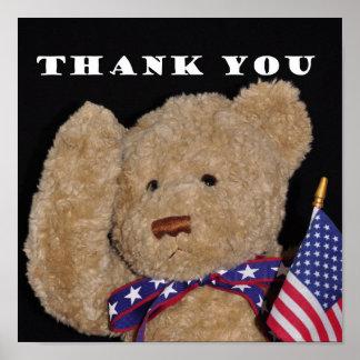 Gracias poster patriótico del oso de peluche