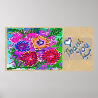 Gracias - presentación floral póster