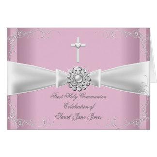 Gracias primer blanco del rosa de la comunión sant tarjeta pequeña