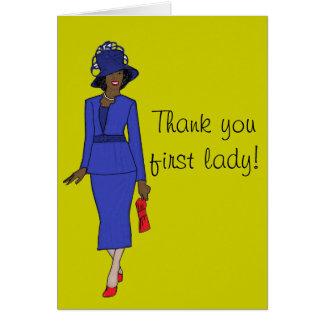 Gracias primera señora tarjeta de felicitación