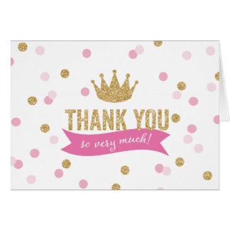 Gracias princesa Crown Glitter NoteCard del | Tarjeta Pequeña