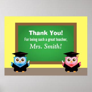 Gracias profesor, adiós de la graduación, búhos poster
