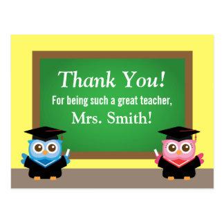 Gracias profesor, adiós de la graduación, búhos tarjeta postal
