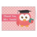 Gracias profesor, búho del profesor, lunares rosad