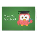 Gracias profesor, búho del profesor, rosa tarjeta