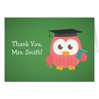 Gracias profesor, búho del profesor, rosa tarjeta de felicitación