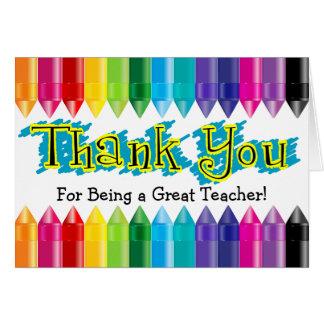 Gracias profesor, creyones del arco iris tarjeta pequeña