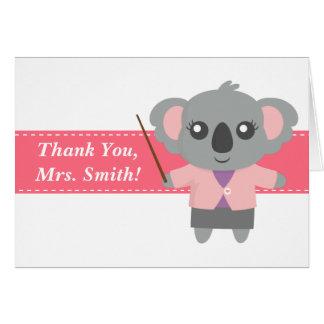 Gracias profesor, oso de koala lindo, aprecio tarjeta de felicitación