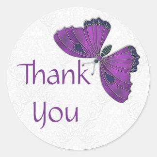 Gracias púrpura del brocado de la mariposa del pegatina redonda