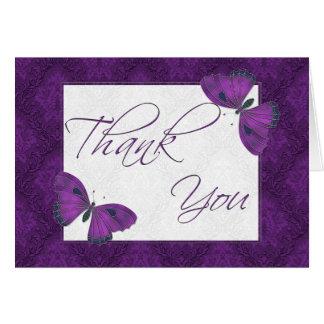 Gracias púrpura del brocado de la mariposa felicitaciones