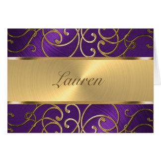Gracias púrpura elegante y oro afiligranados tarjeta pequeña