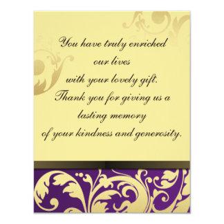 Gracias púrpura y oro de la invitación de boda de invitación 10,8 x 13,9 cm