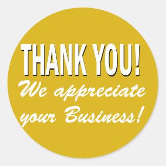 Gracias que apreciamos su negocio pegatina redonda