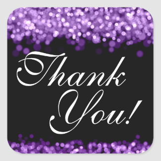 Gracias que casa luces púrpuras pegatina cuadrada